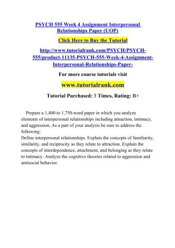 interpersonal relationships paper