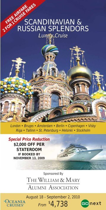 Scandinavian & Russian Splendors Itinerary - The William & Mary ...