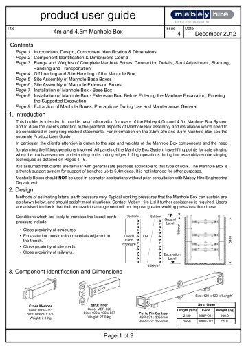 4m and 4.5m Manhole Box User guide page 1 - Mabey Hire