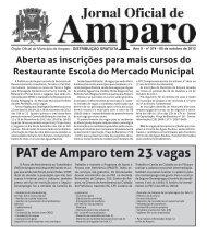 PAT de Amparo tem 23 vagas - Prefeitura Municipal de Amparo