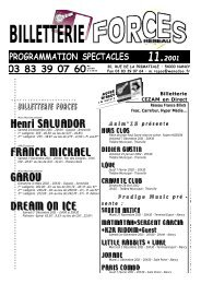 PROGRAMMATION SPECTACLES