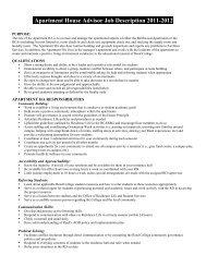 Apartment House Advisor Job Description 2011 ... - Reed College