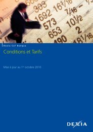 Conditions et Tarifs - Dexia Crédit Local