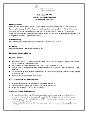 human resource manager job description pdf