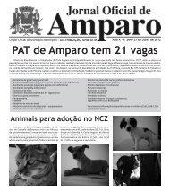 PAT de Amparo tem 21 vagas - Prefeitura Municipal de Amparo