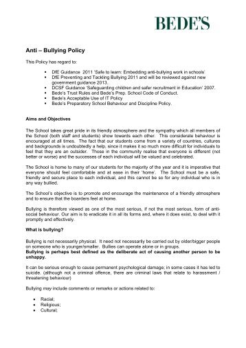 Anti – Bullying Policy - St Bede's School