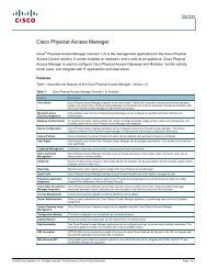 Cisco Physical Access Manager - VIS Security