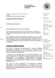 Fanbrief Polizei Paderborn - Fanprojekt Dresden
