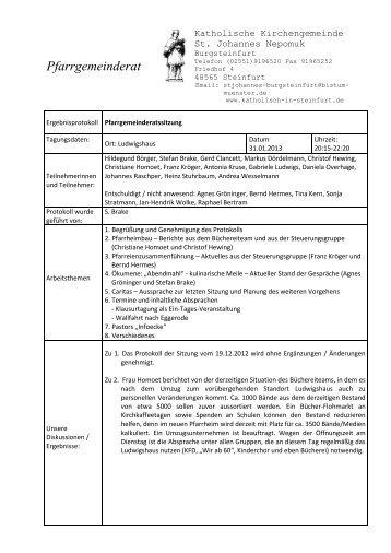 PGR-Protokoll vom 31. 01. 2013