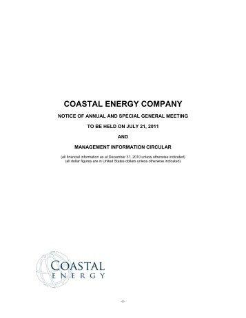 2011 Management Information Circular - Coastal Energy