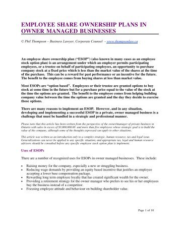 employee share ownership plans in owner managed businesses