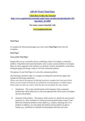 ABS 497 Week 5 Final Paper/Uoptutorial
