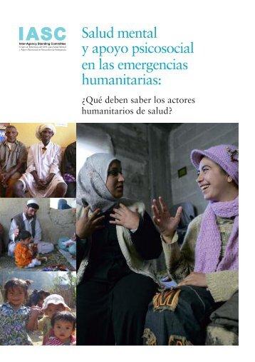 Salud mental y apoyo psicosocial en las emergencias humanitarias: