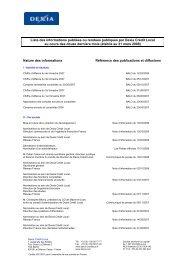 Liste des informations publiées - Dexia Crédit Local