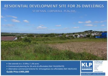 RESIDENTIAL DEVELOPMENT SITE FOR 26 DWELLINGS, ST DENNIS, CORNWALL