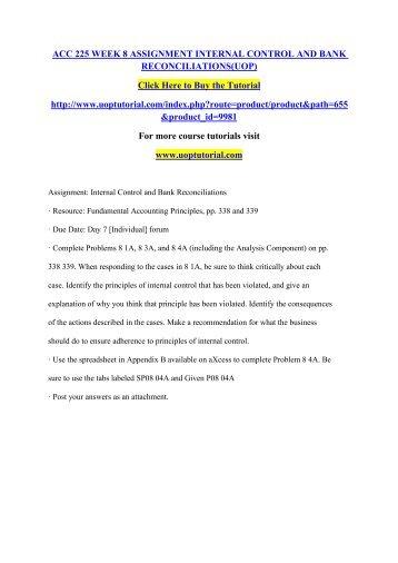 XACC 280 Week 8 Assignment - Internal Controls