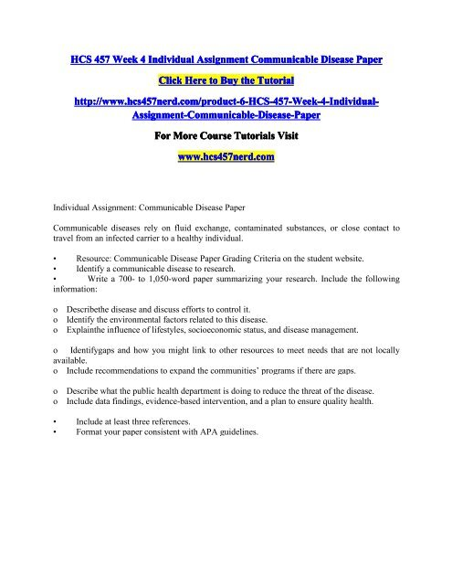 HCS 457 Week 4 Individual Assignment Communicable Disease Paper/HCS457nerddotcom