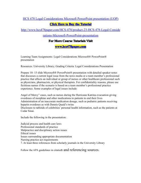 HCS 478 Legal Considerations Microsoft PowerPoint presentation (UOP)/HCS478paperdotcom