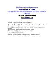 HCS 478 Personal Ethics Statement (UOP)/HCS478paperdotcom