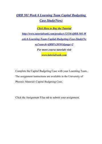 QRB 501 Week 6 Capital Budgeting Case Study | University of Phoenix