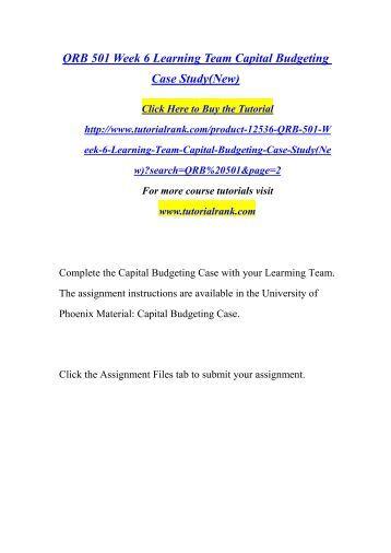 QRB 501 Week 6 Capital Budgeting Case Study
