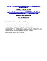 HRM 300 Week 5 Individual Assignment Employee Training and Career Development Paper/HRM300paperdotcom