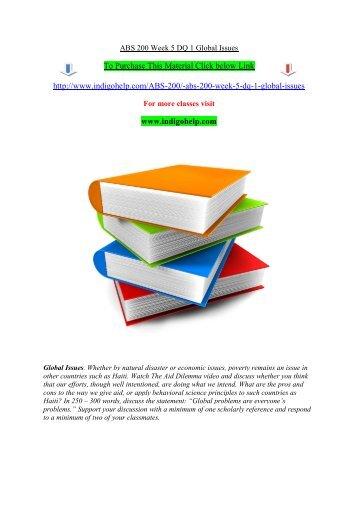 ABS 200 Week 5 DQ 1 Global Issues/indigohelp