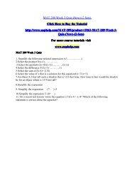 MAT 209 Week 3 Quiz (New) (2 Sets)
