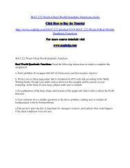 MAT 222 Week 4 Real World Quadratic Functions
