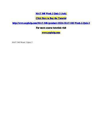 MAT 540 Week 2 Quiz 2