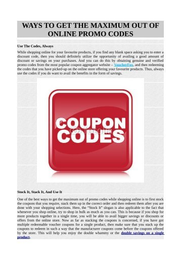 WAYS TO GET THE MAXIMUM OUT OF ONLINE PROMO CODES