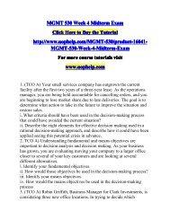 MGMT 530 Week 4 Midterm Exam