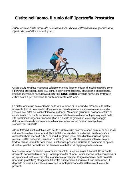 ingrossamento della prostata e del ciclismo