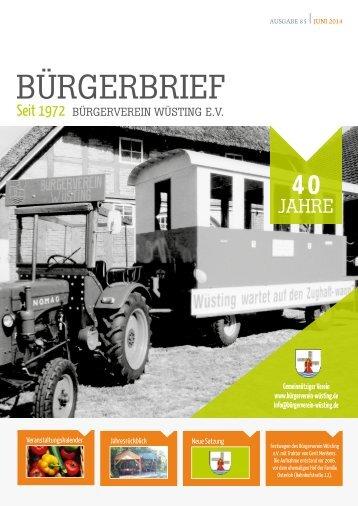 BÜRGERBRIEF Ausgabe 85 - Juni 2014 - Vereinsheft vom Bürgerverein Wüsting e.V.