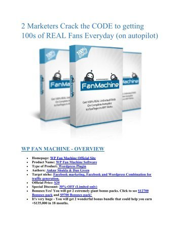 DETAIL features review and SPECIAL discount of WP Fan Machine