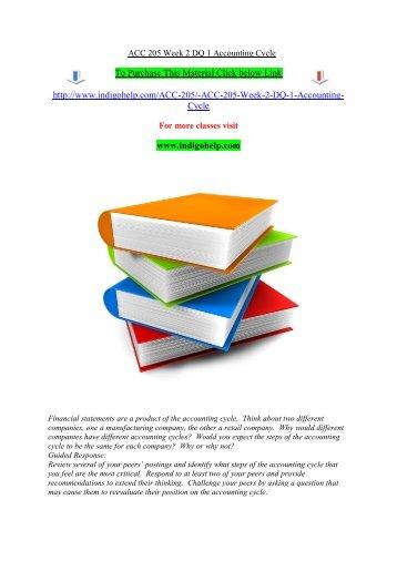 ACC 205 Week 2 DQ 1 Accounting Cycle/indigohelp