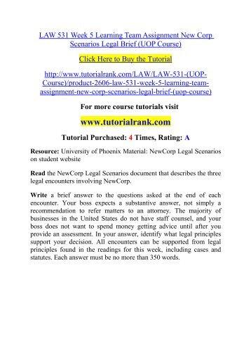 LAW 531 UOP Course/ Tutorialrank