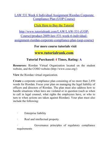 Essay Example: Riordan Corporate Compliance Plan