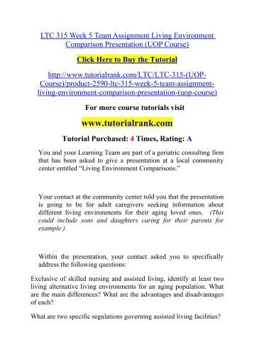 ltc 315 r1 living environments worksheet Ltc 315 week 1 individual assignment living environments worksheet click here to buy the tutorial.