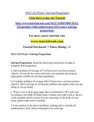 MAT 222 Week 1 Solving Proportions Course(Uop)/TutorialRank
