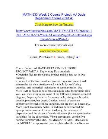 course project aj davis department stores