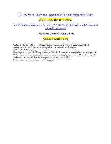 AJS 562 Week 1 Individual Assignment / ajs562paperdotcom