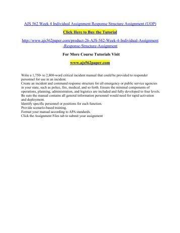 AJS 562 Week 4 Individual Assignment Response/ ajs562paperdotcom