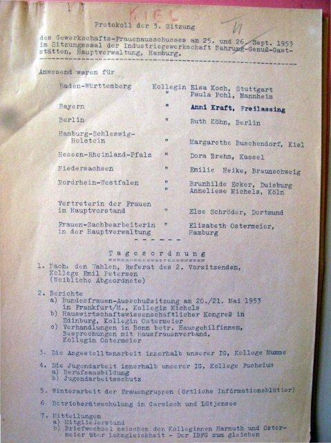 Protokoll Frauenausschuss 1953 Tarifvertrag Hausgehilfinnen