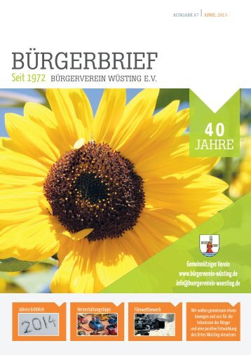 BÜRGERBRIEF Ausgabe 87 - Mai 2015 - Vereinsheft vom Bürgerverein Wüsting e.V.