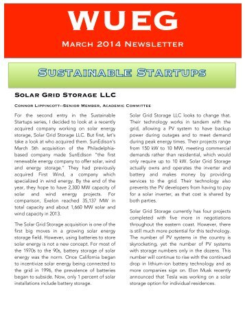 WUEG March 2015 Newsletter
