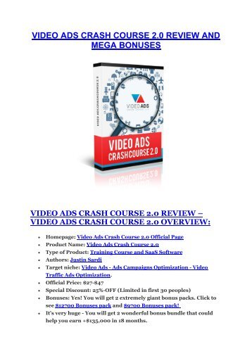 Video Ads Crash Course 2 review and (GET) +100 items bonus pack