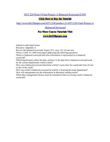 HTT 220 Week 9 Final Project A Balanced Scorecard (UOP)/HTT220paperdotcom