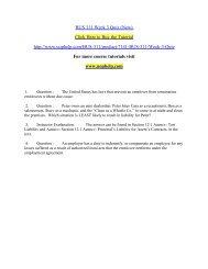 BUS 311 Week 3 Quiz (New)  / uophelp
