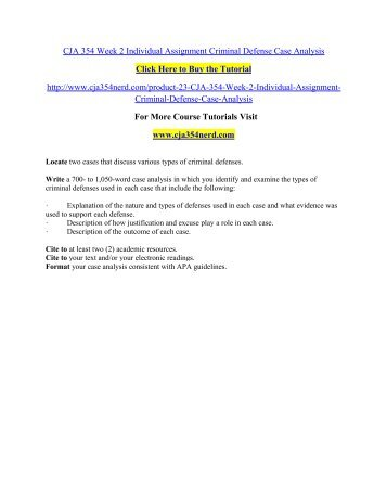 CJA 354 Week 2 Individual Assignment Criminal / cja354nerddotcom